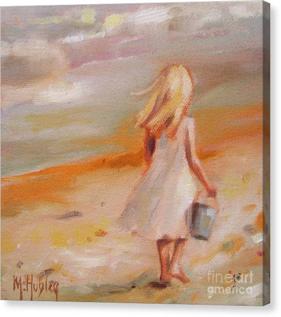 Beach Walk Girl Canvas Print