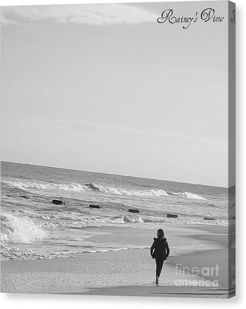 Beach Walk Canvas Print by Lorraine Heath