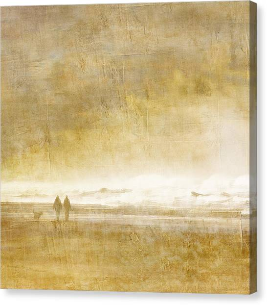 Couple Canvas Print - Beach Walk Square by Carol Leigh