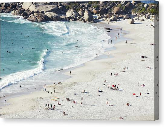 Beach With Swimmers Cape Town Canvas Print