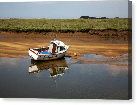 Beached Boat In River Estuary Canvas Print
