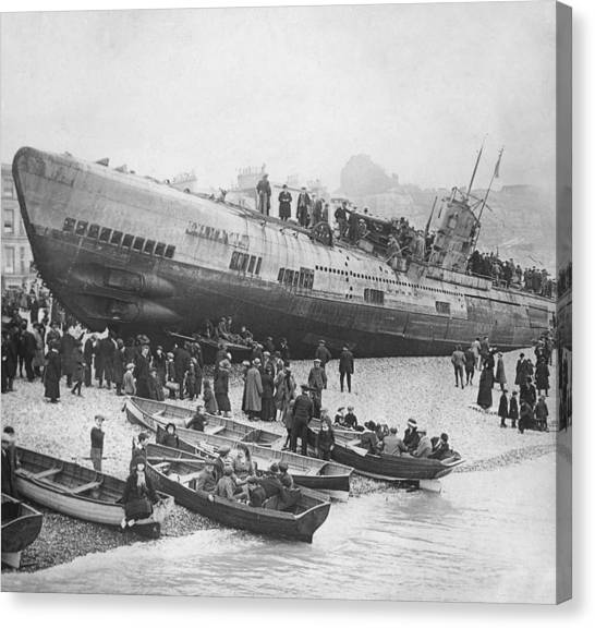 Seer Canvas Print - Beached German Submarine by Ny State Military Museum