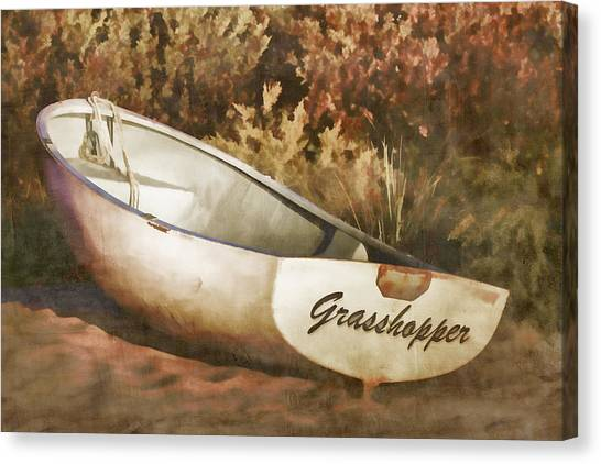 Grasshoppers Canvas Print - Beached Rowboat by Carol Leigh