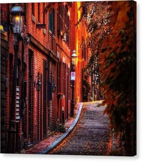 Massachusetts Canvas Print - Beacon Hill Sidewalk, Boaton by Joann Vitali