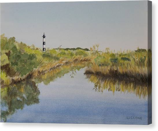 Beacon On The Marsh Canvas Print