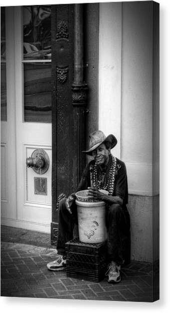 Beads And Bucket In New Orleans In Black And White Canvas Print