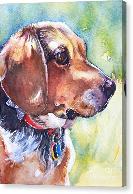 Watercolor Pet Portraits Canvas Print - Beagle Dog by Maria's Watercolor