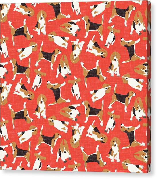 Beagles Canvas Print - Beagle Scatter Coral Red by Sharon Turner