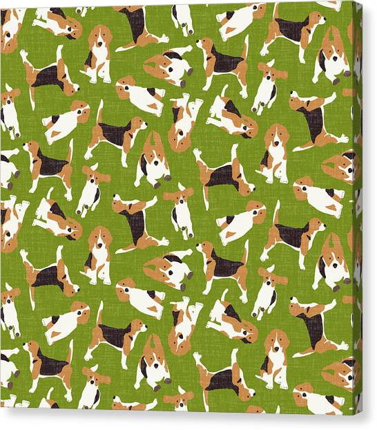 Pattern Canvas Print - Beagle Scatter Green by Sharon Turner