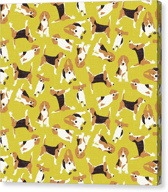 Beagles Canvas Print - Beagle Scatter Yellow by Sharon Turner