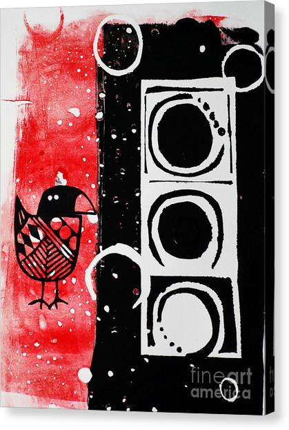 Beak In Red And Black Canvas Print