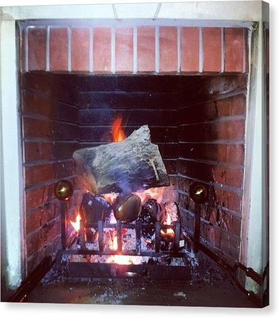 Fire Canvas Print - #beamman #fireplace  #winter #fire by Abdelrahman Alawwad