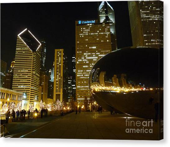Cloudgate Canvas Print - Beanie Night View by David Bearden