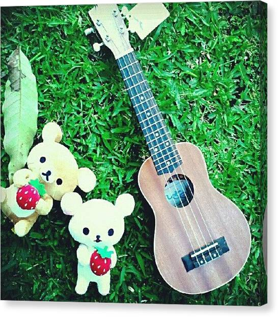Ukuleles Canvas Print - Bear And Ukulele by Sunanta Meechana