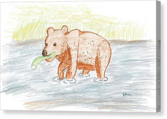 Bear Fishing Canvas Print by Ethan Chaupiz