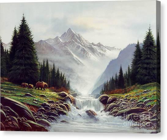 Brown Bears Canvas Print - Bear Mountain by Robert Foster