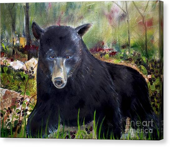 Bear Painting - Blackberry Patch - Wildlife Canvas Print