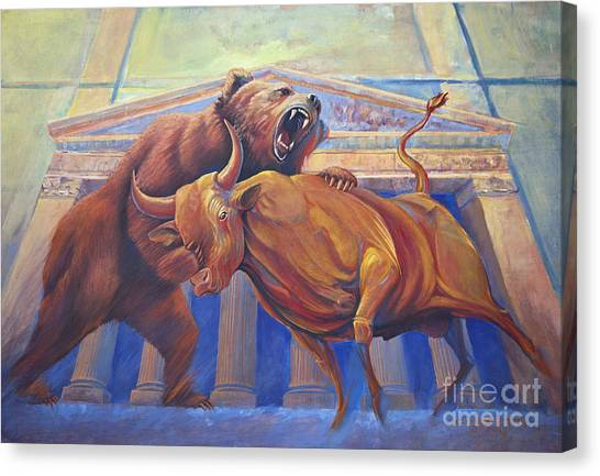 Bear Vs Bull Canvas Print