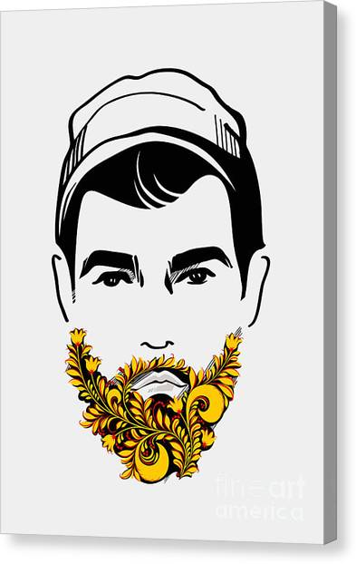 Nose Canvas Print - Beard And Mustache Man. Traditional by Pevuna