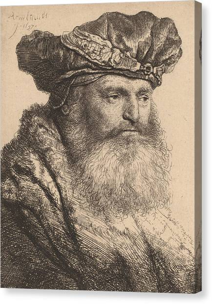 Signature Canvas Print - Bearded Man In A Velvet Cap With A Jewel Clasp by Rembrandt