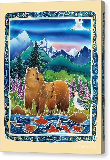 Bears And Salmon Canvas Print by Harriet Peck Taylor