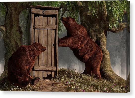 Bears Around The Outhouse Canvas Print
