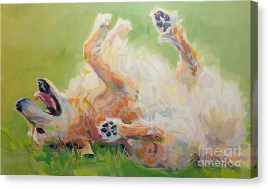 Golden Retrievers Canvas Print - Bears Backscratch by Kimberly Santini
