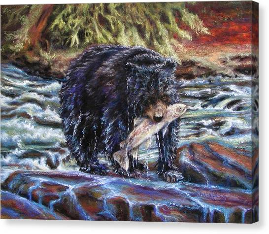 Bears' Catch Of The Day Canvas Print
