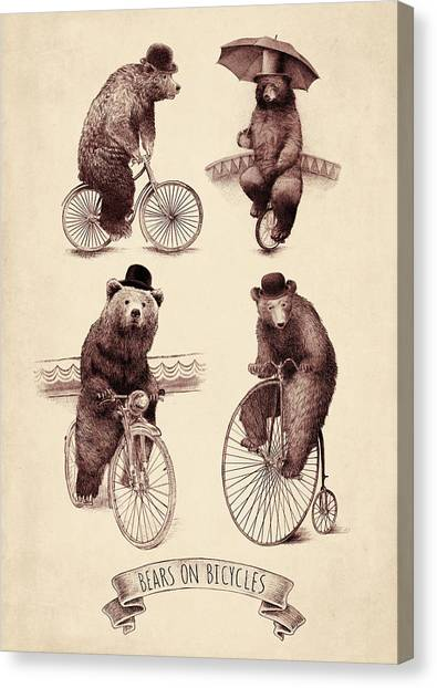 Bears Canvas Print - Bears On Bicycles by Eric Fan