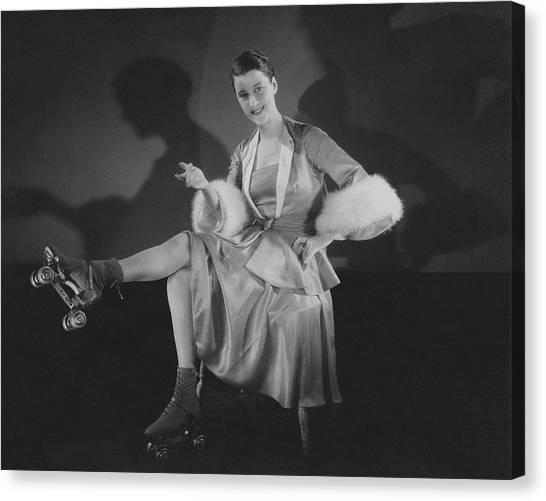 Roller Skating Canvas Print - Beatrice Lillie Wearing Roller Skates by Edward Steichen