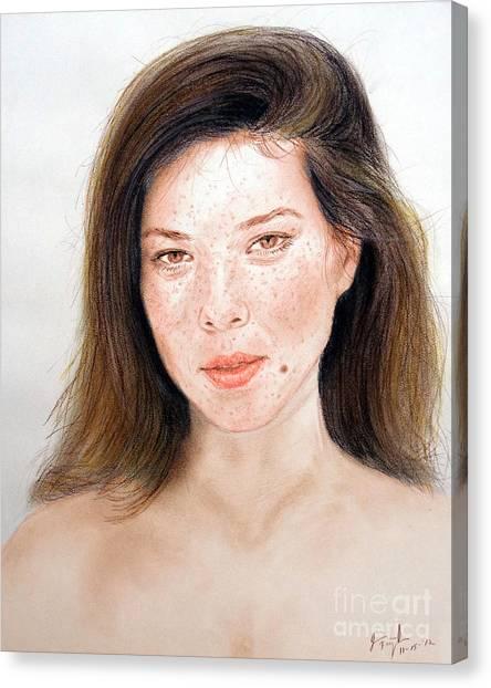 Lucy Liu Canvas Print - Beautiful Actress Jeananne Goossen by Jim Fitzpatrick