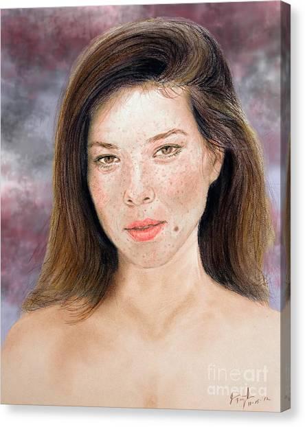 Lucy Liu Canvas Print - Beautiful Actress Jeananne Goossen Updated Version by Jim Fitzpatrick