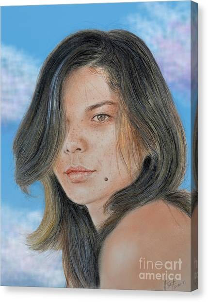 Lucy Liu Canvas Print - Beautiful And Sexy Actress Jeananne Goossen IIi Altered Version by Jim Fitzpatrick