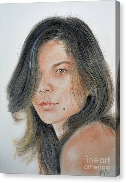 Lucy Liu Canvas Print - Beautiful And Sexy Actress Jeananne Goossen IIi  by Jim Fitzpatrick