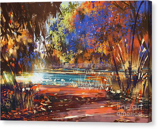 Bright Canvas Print - Beautiful Autumn Landscape With Flowers by Tithi Luadthong