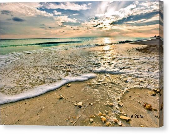 Beautiful Beach Blue Sea Sunset Canvas Print