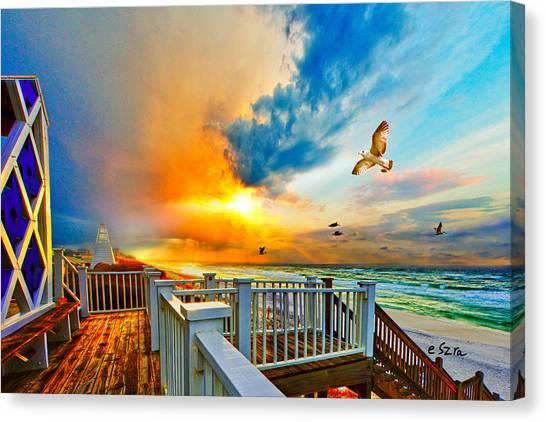 Beautiful Beach Seaside Florida Beach Staircase Canvas Print