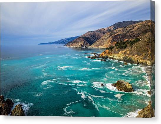 Canvas Print featuring the photograph Beautiful Big Sur With Bixby Bridge by Priya Ghose