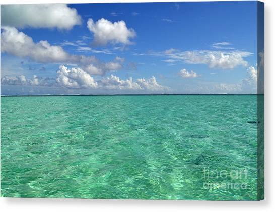 Beautiful Bora Bora Green Water And Blue Sky Canvas Print