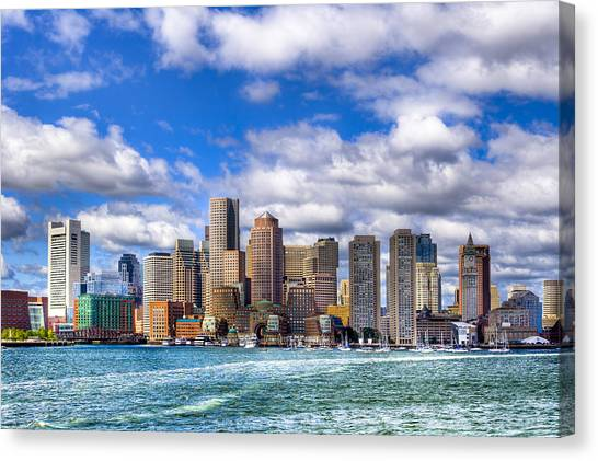 Canvas Print featuring the photograph Beautiful Boston Skyline From The Harbor by Mark E Tisdale