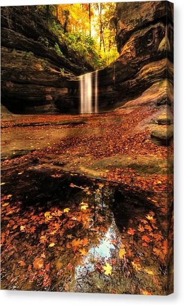Beautiful Canyon And Waterfall Canvas Print by Sushmita Sadhukhan