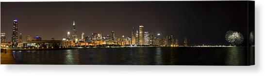 Chicago Skyline Art Canvas Print - Beautiful Chicago Skyline With Fireworks by Adam Romanowicz
