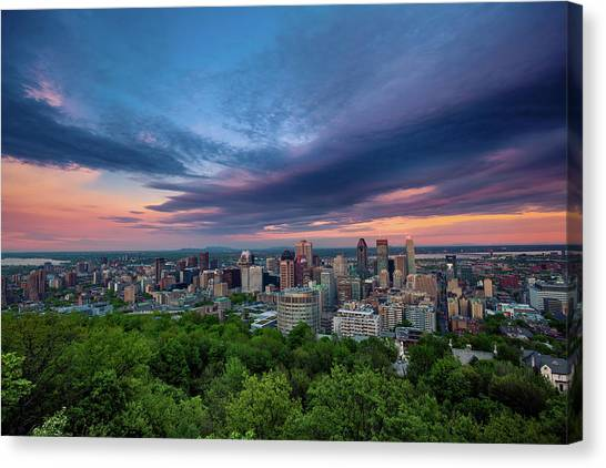 Beautiful Cloud Over The Montreal City Canvas Print by D3sign