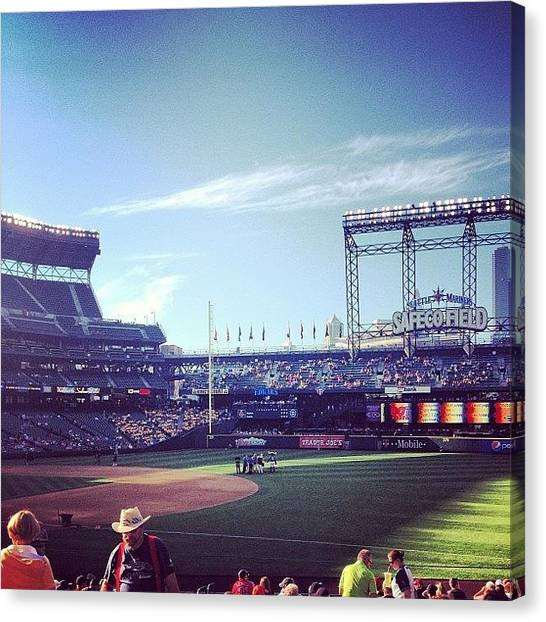 Seattle Mariners Canvas Print - Beautiful Day And Great Seats At The by Derek Kiel