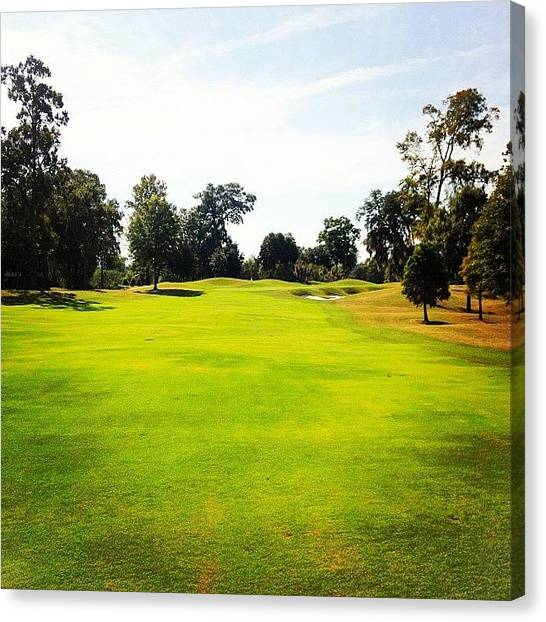 Sports Canvas Print - Beautiful Day #golf #fairway#iphone5 by Scott Pellegrin