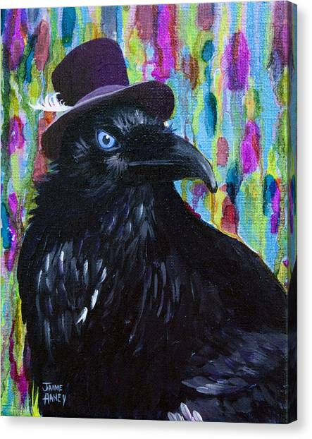 Beautiful Dreamer Black Raven Crow 8x10 Mixed Media By Jaime Haney Canvas Print
