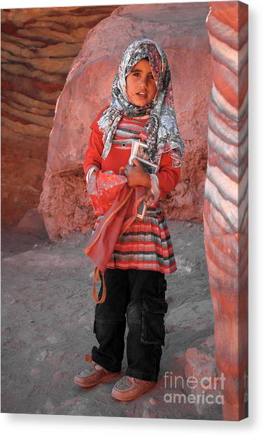 Beautiful Girl At Petra Jordan Canvas Print