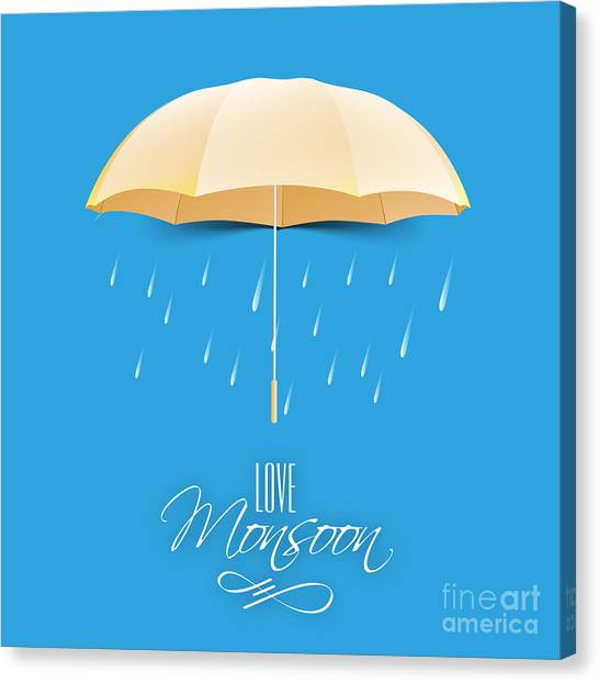 Happy Canvas Print - Beautiful Glossy Golden Umbrella On by Allies Interactive