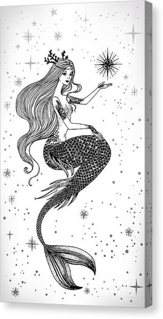 Young Adults Canvas Print - Beautiful Mermaid With Star In Her by Anastasia Mazeina