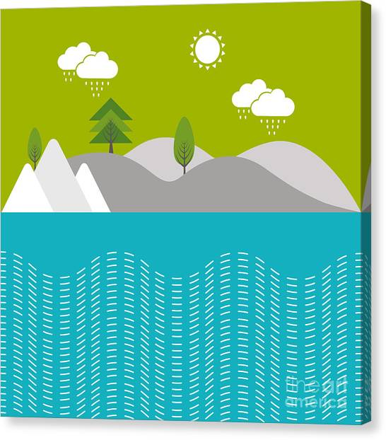 Happy Canvas Print - Beautiful Nature Background With River by Allies Interactive